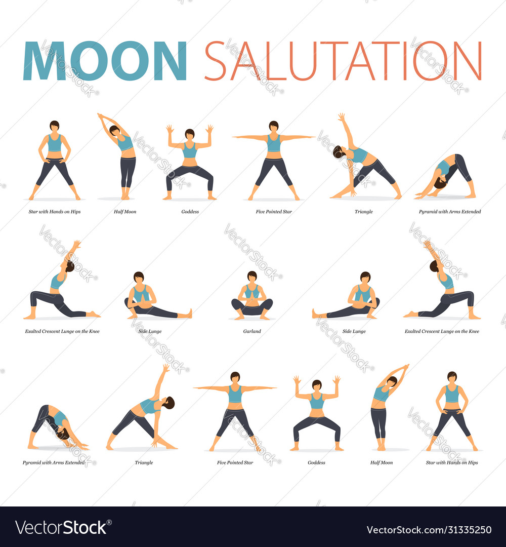 Yoga Poses For Yoga Moon Salutation Royalty Free Vector