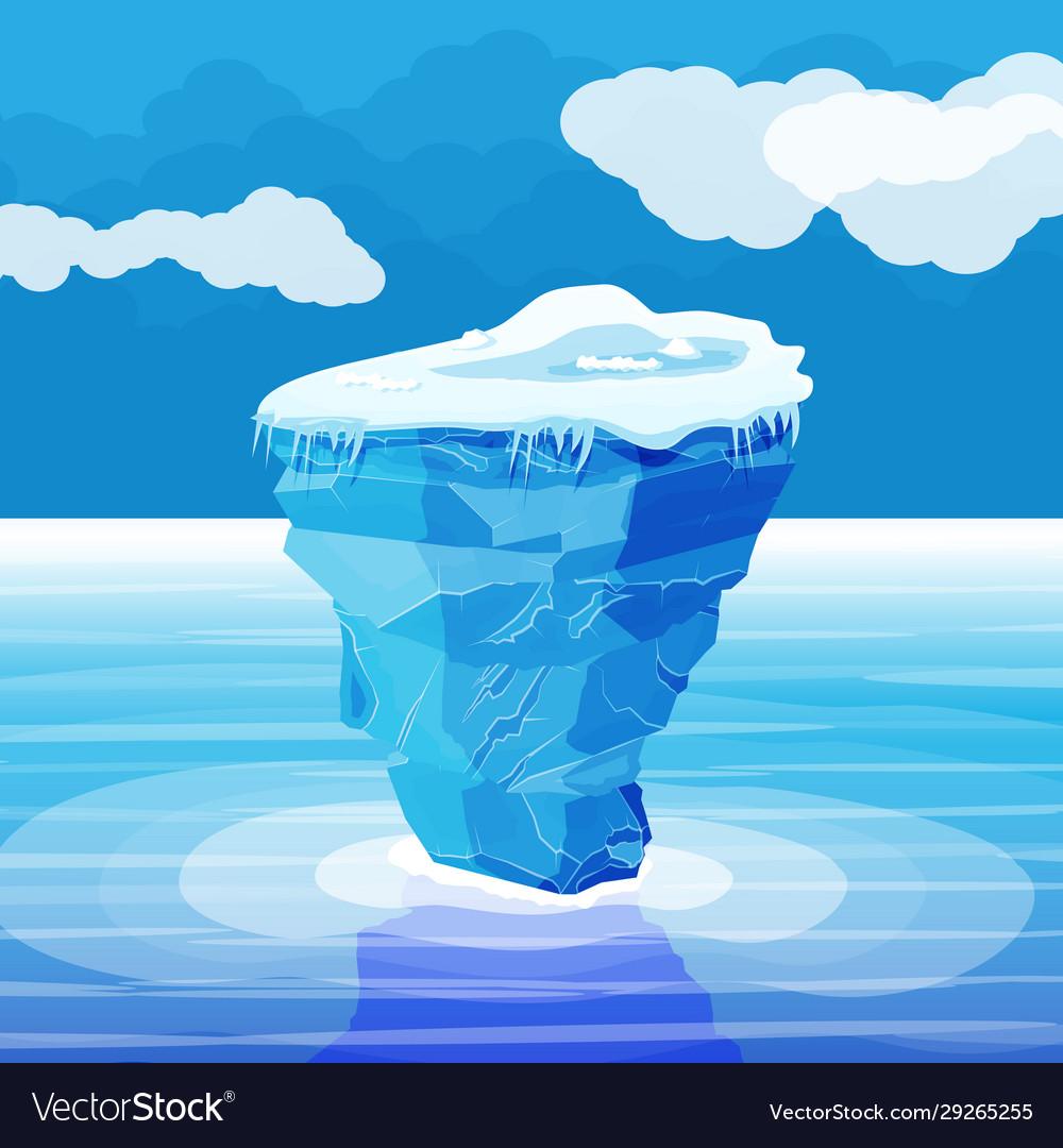 Big iceberg and ocean ice in sea