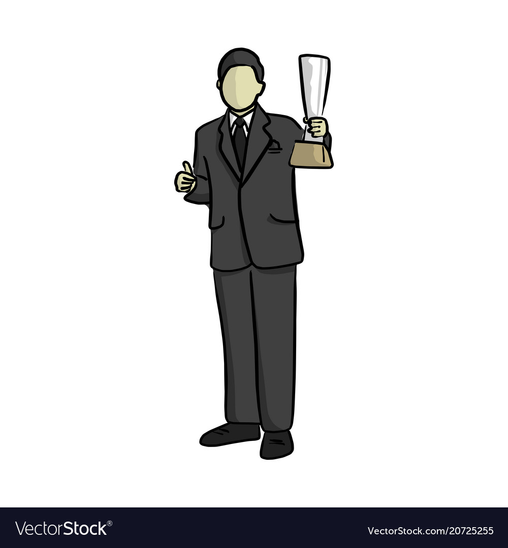 Business man holding trophy with thumb up