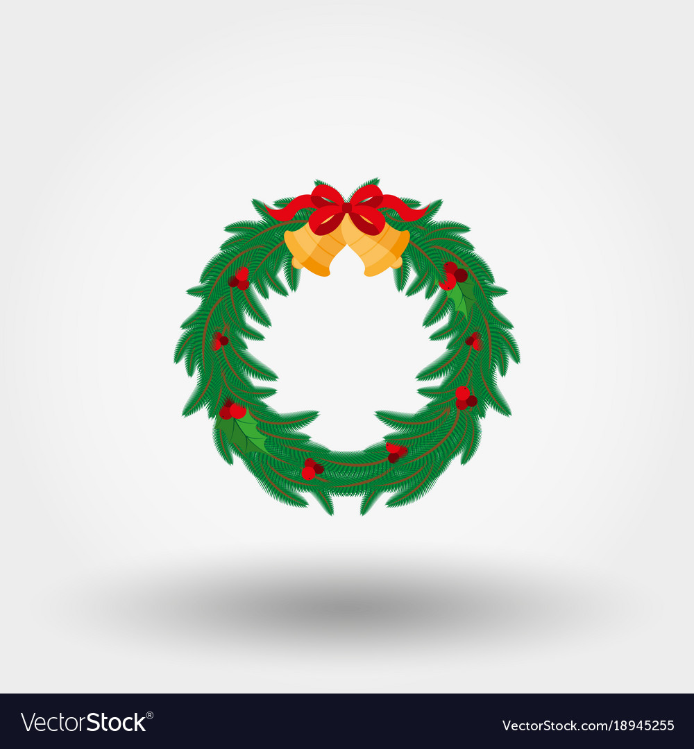 Christmas wreath with holly berries bells and a