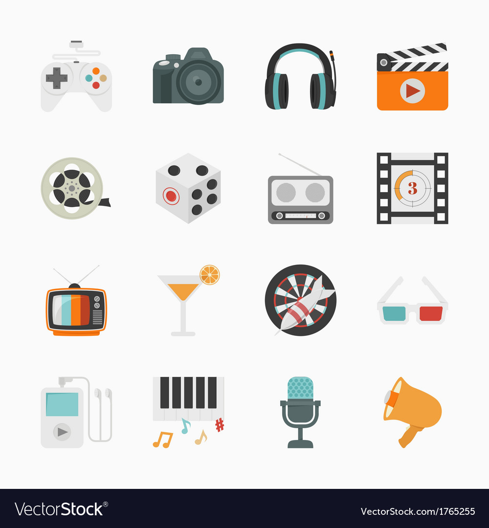 Entertainment Icons with White Background