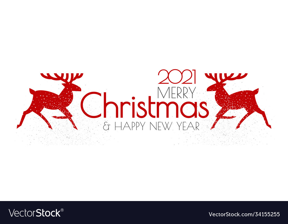 Happy new 2021 year christmas flyer with reindeer
