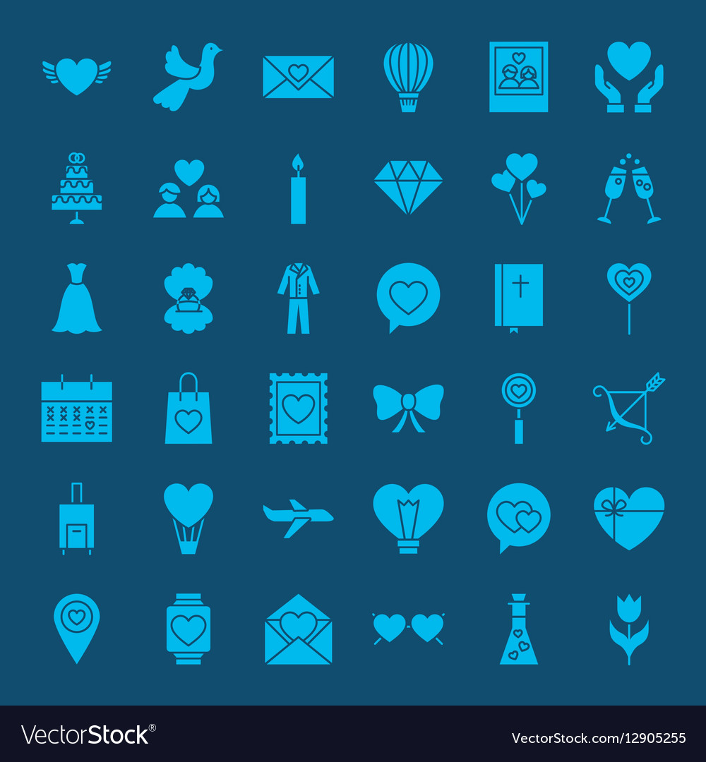 Love Web Glyphs Icons vector image