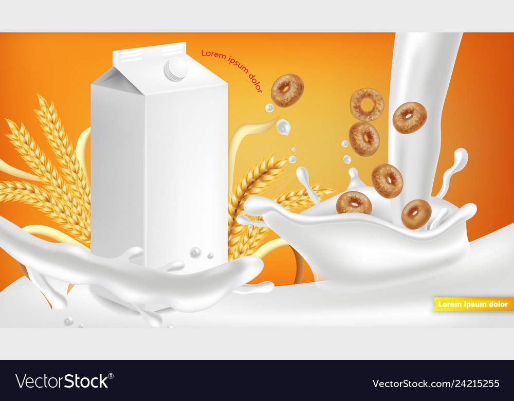 Milk package realistic with splash product