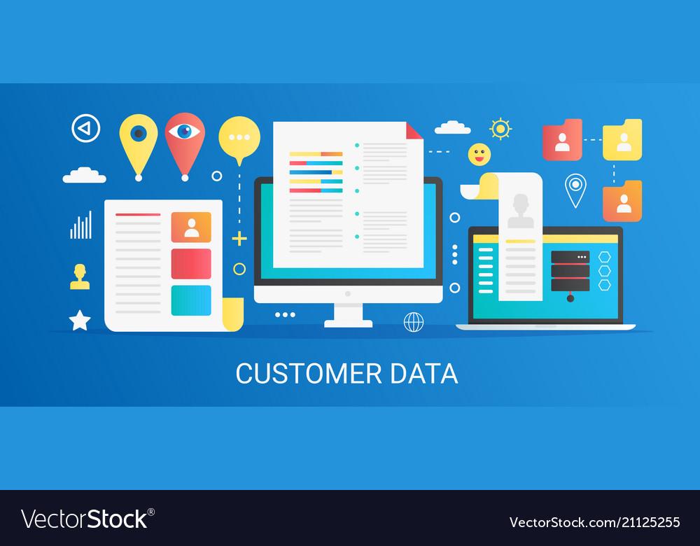 Modern flat gradient customer data concept