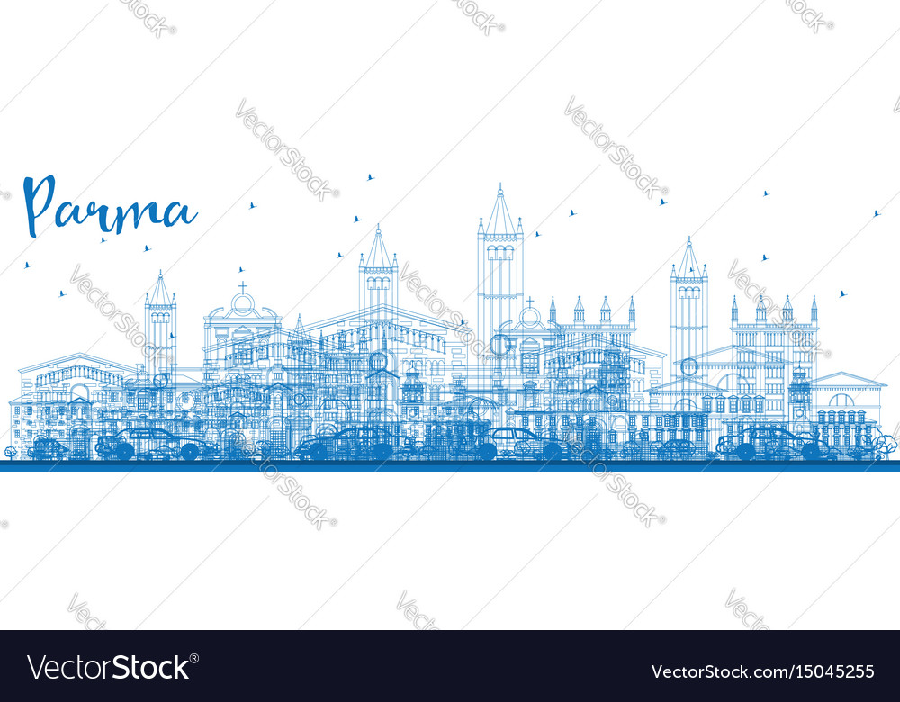 Outline parma skyline with blue buildings vector image