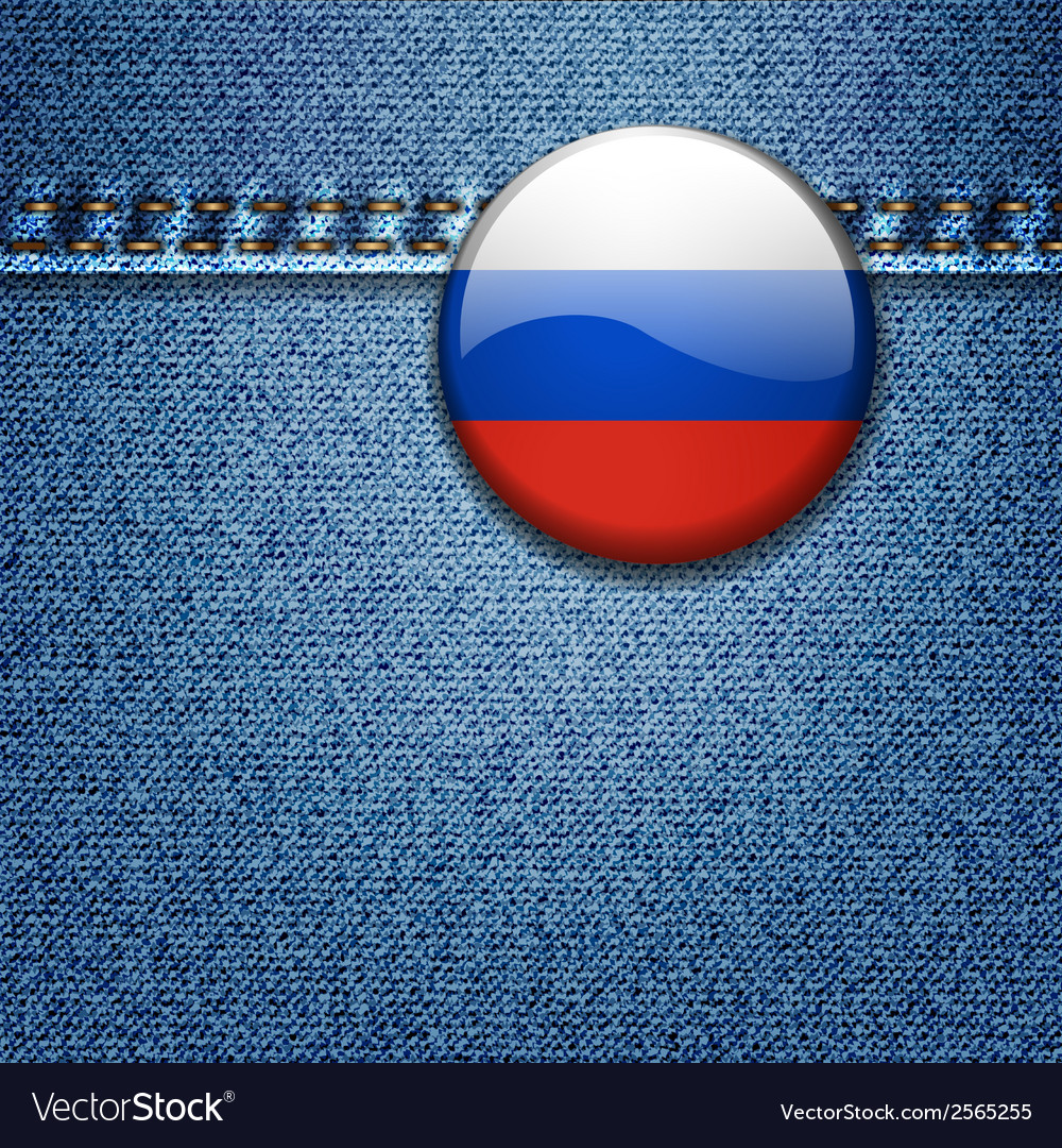 Russian federation flag badge on denim fabric text