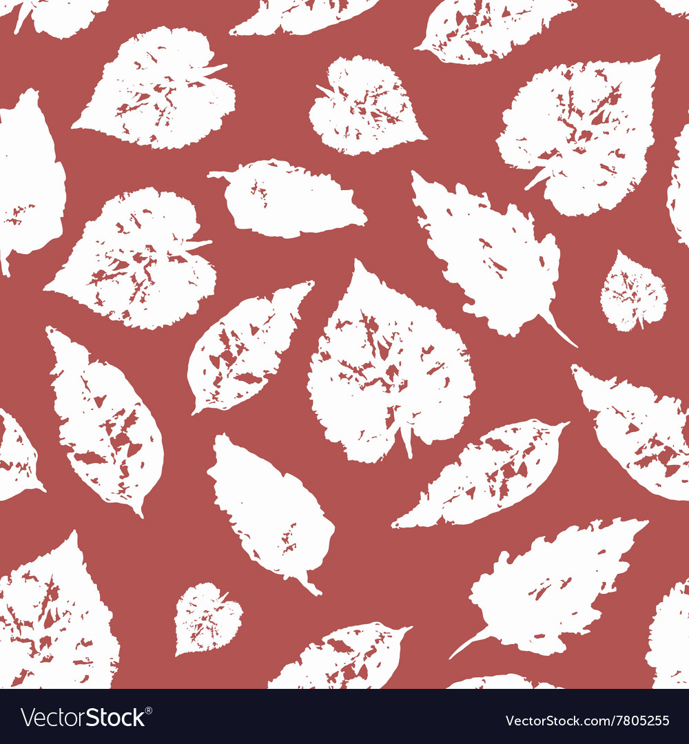 Seamless pattern with white leaves
