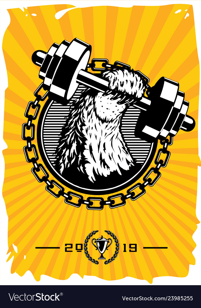 Sport club vintage poster with dumbell retro gym