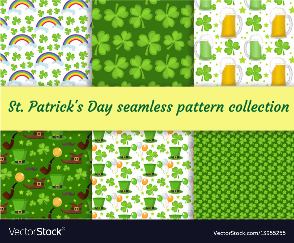 St patricks day seamless pattern collection with