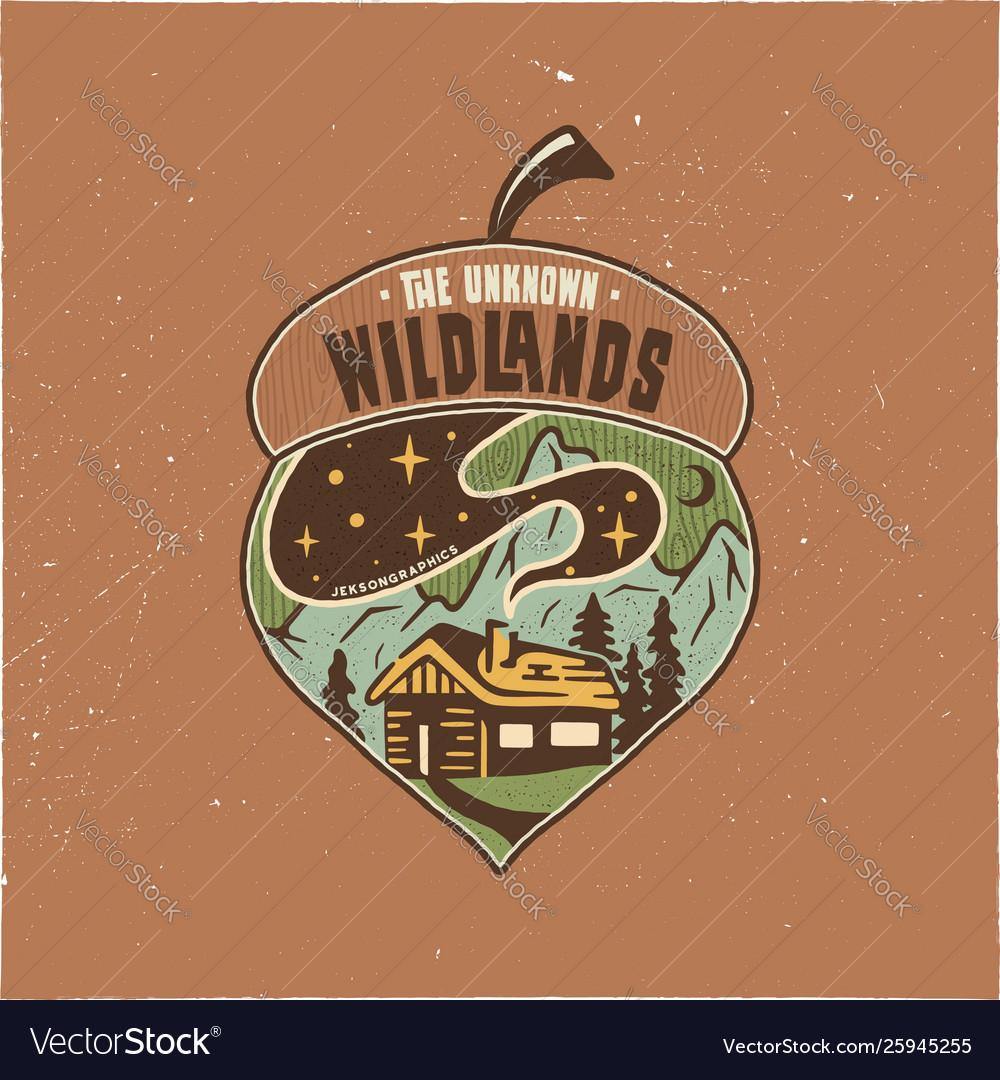 Vintage camping badge acorn design