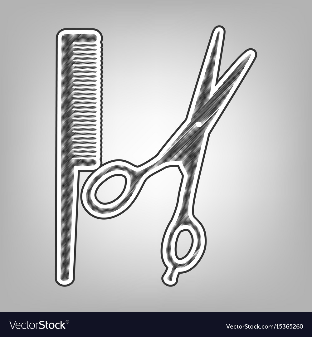 Barber shop sign pencil sketch imitation vector image