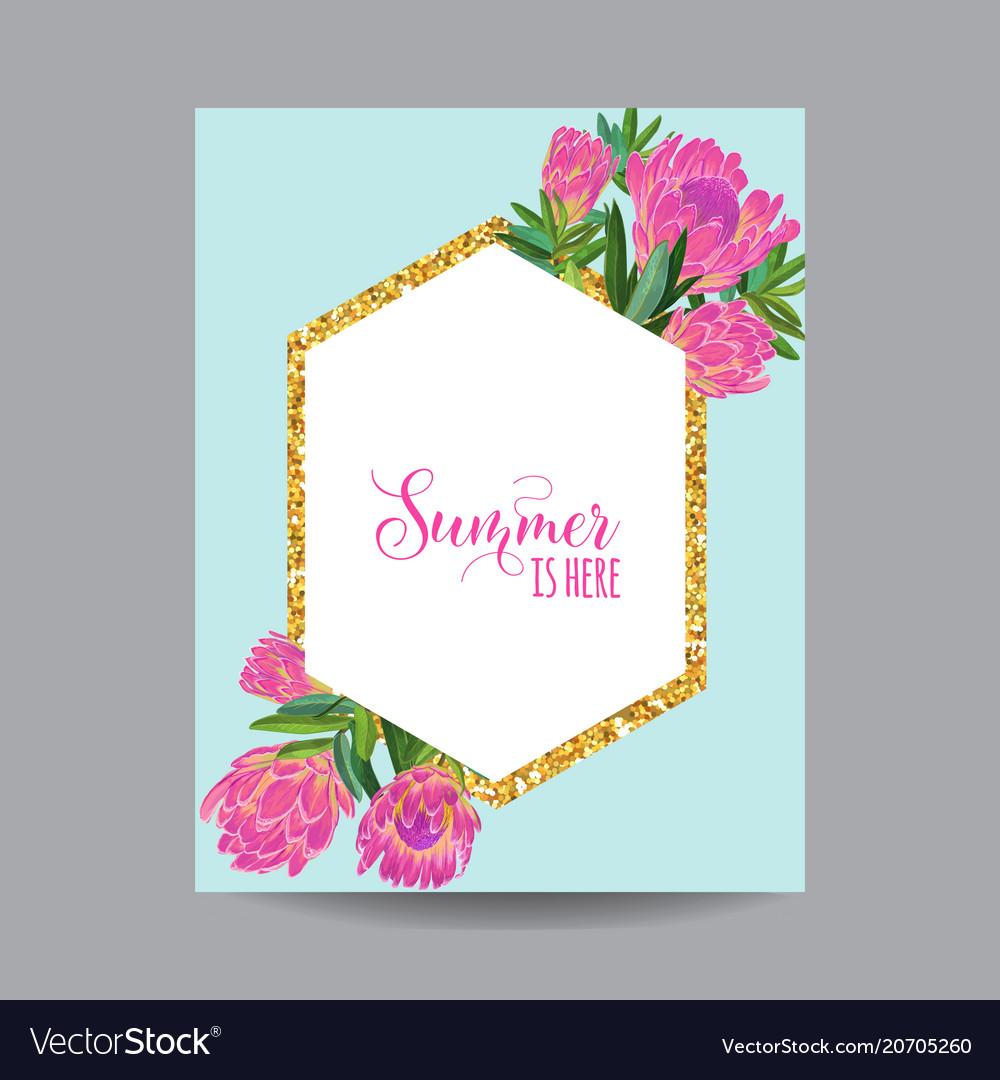 Blooming spring and summer golden floral frame