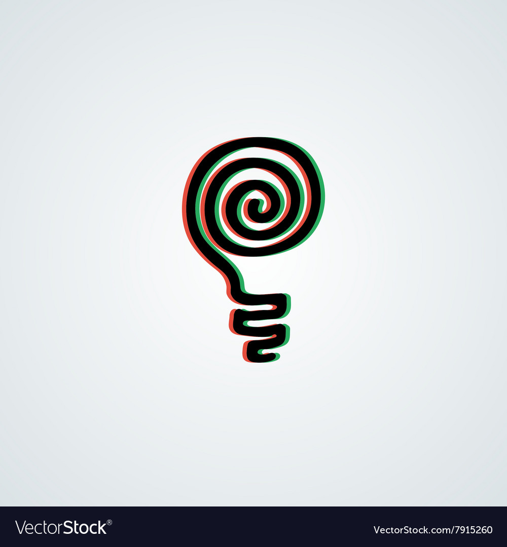 Doodle lamp logo with 3d green-red effect