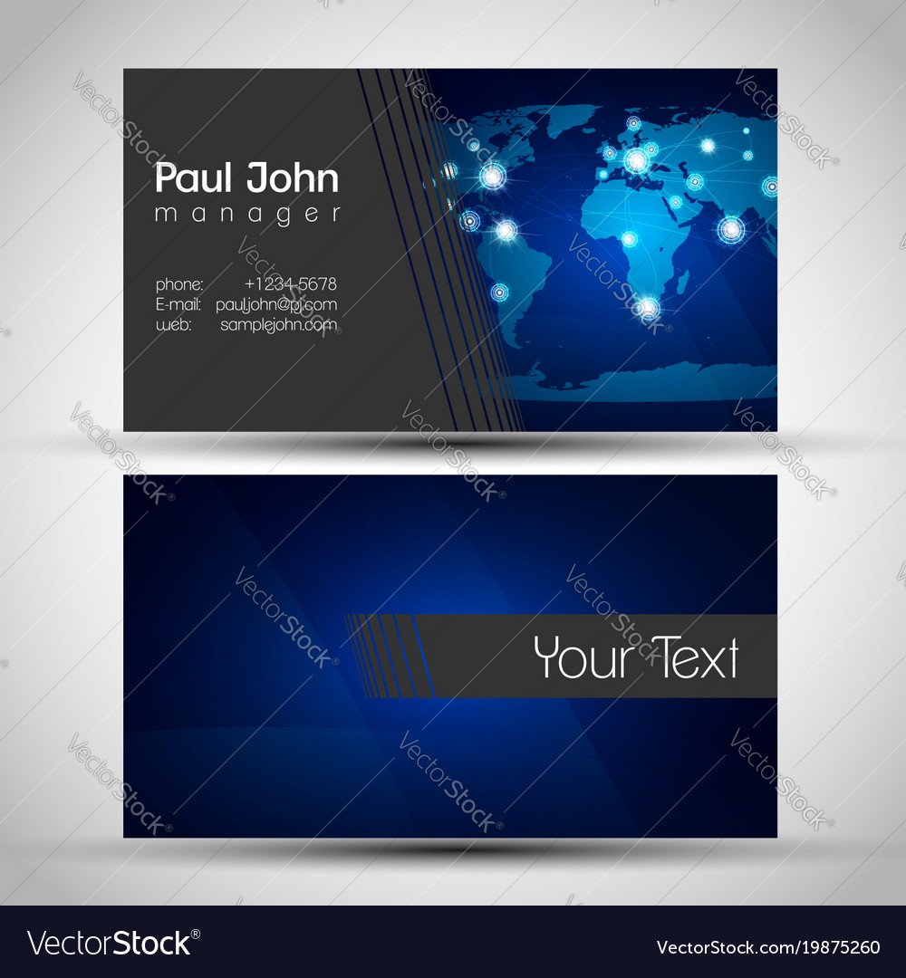 elegant business card front and back side vector image - Back Of Business Card