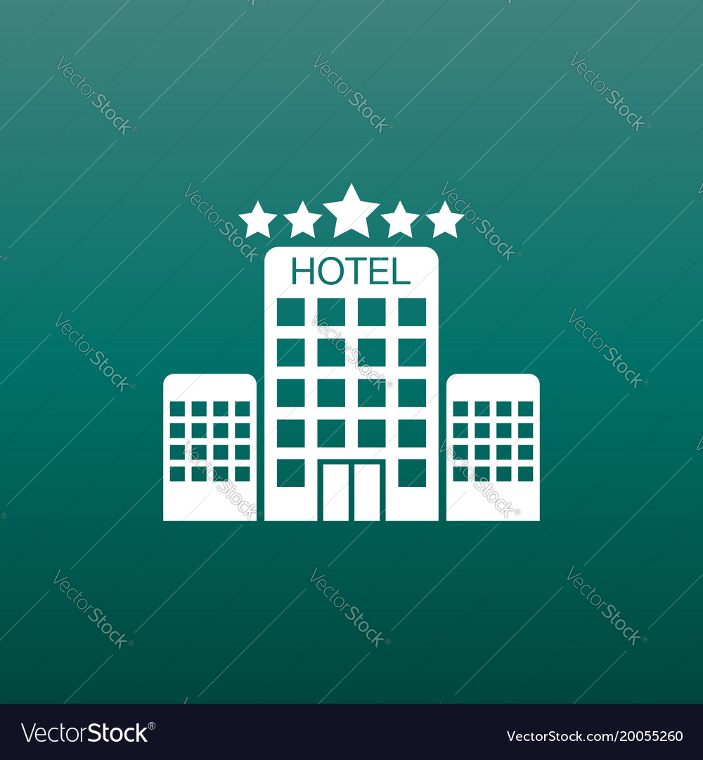 Hotel icon on green background simple flat