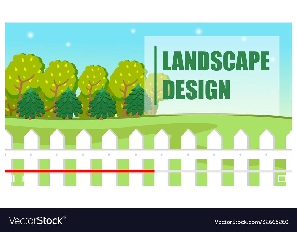 Landscape design green lettering trees field