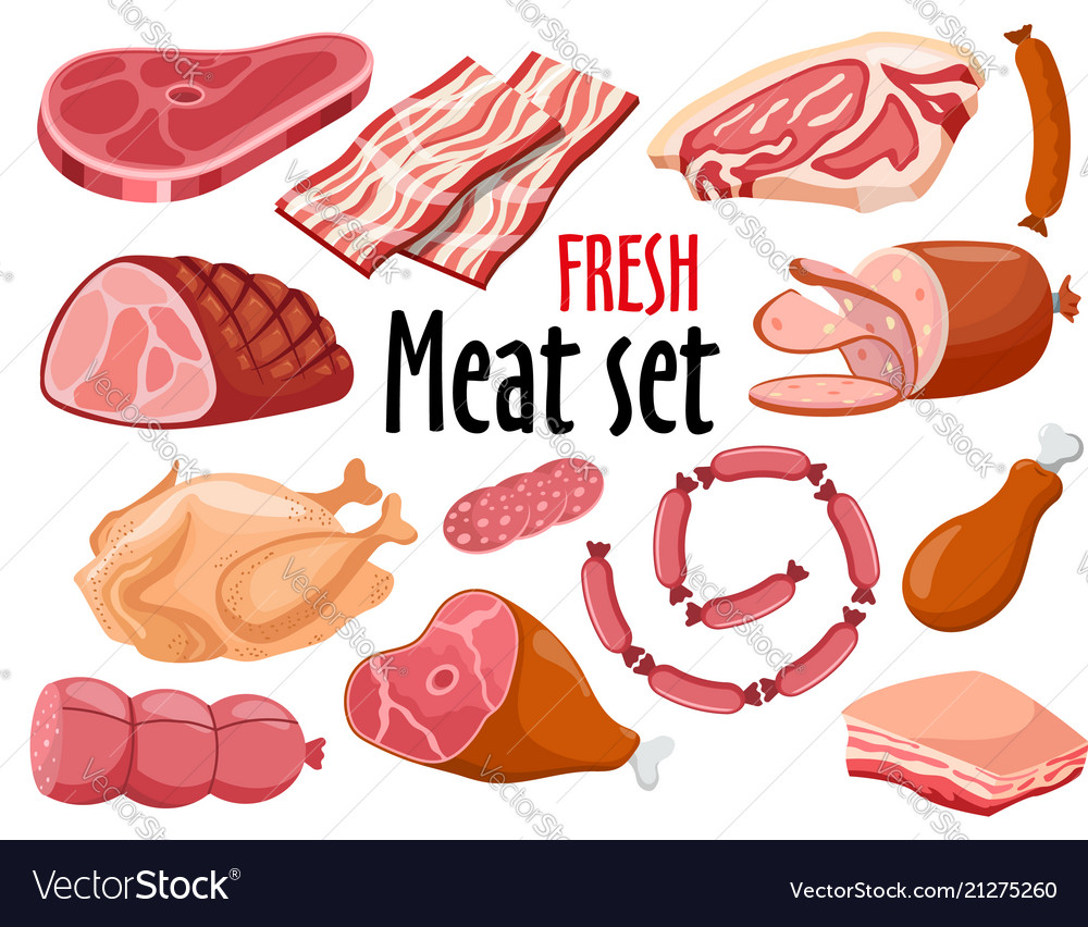 Meat set fresh meat icons set