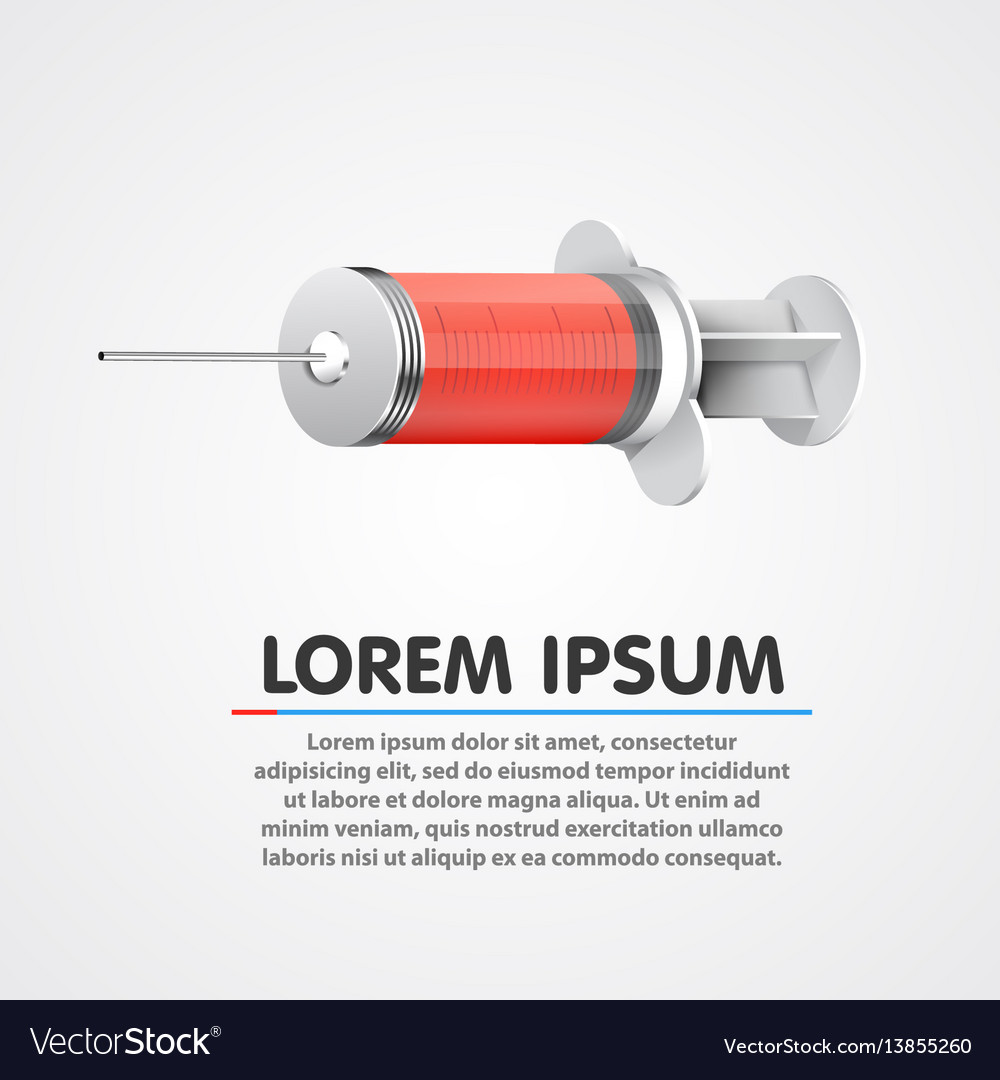 Medical syringe filled with red blood clean vector image