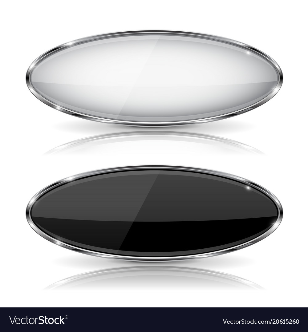 Oval black and white glass buttons with metal vector image