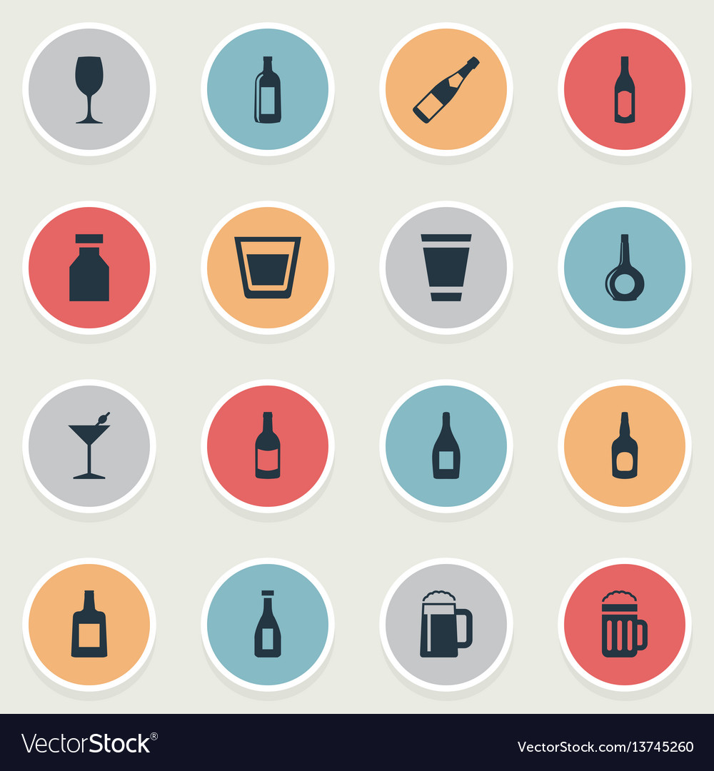 Set of simple beverage icons