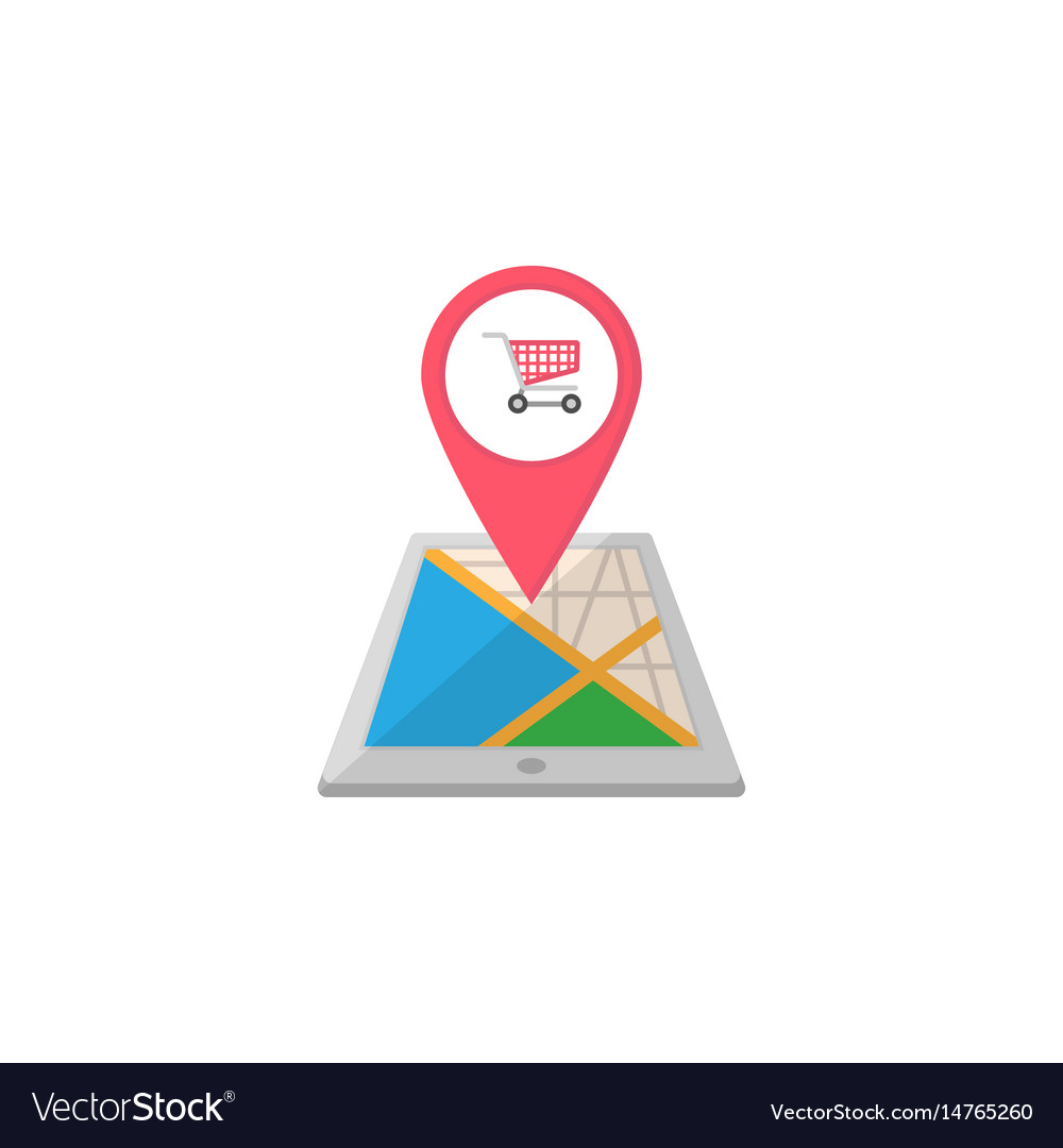 Shopping cart map pointer flat icon mobile gps on
