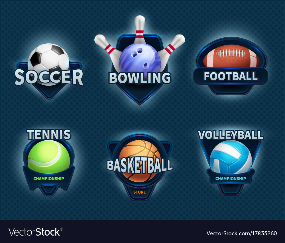 Sports balls labels and sport team emblems