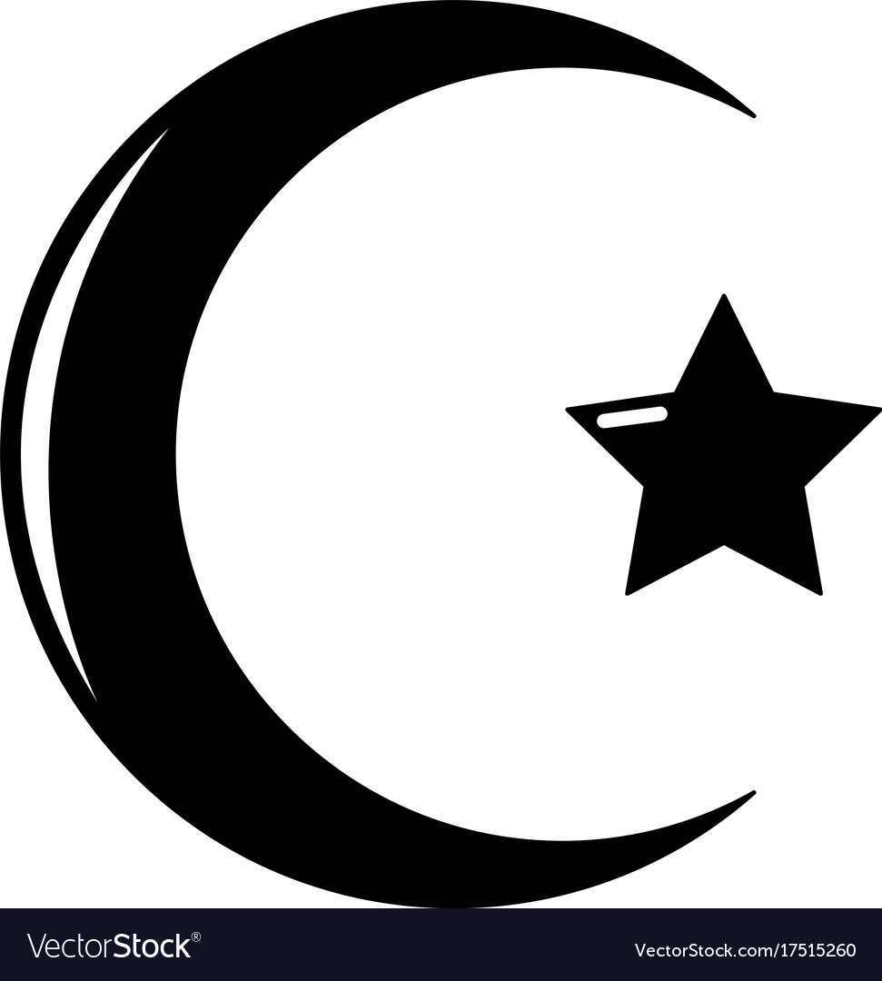 Star Crescent Symbol Islam Icon Simple Style Vector Image