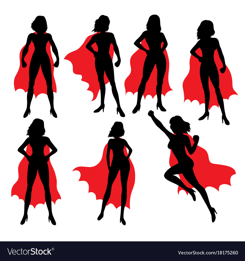 Super girl activity silhouettes vector image
