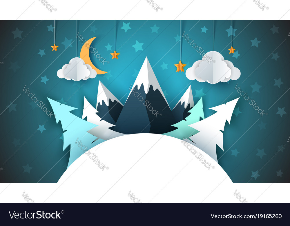 Winter cartoon paper landscape merry christmas vector image