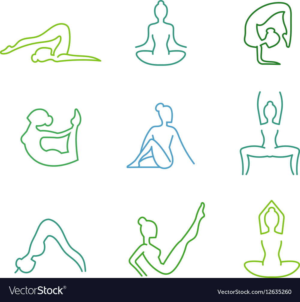 Yoga poses silhouettes set for woman health