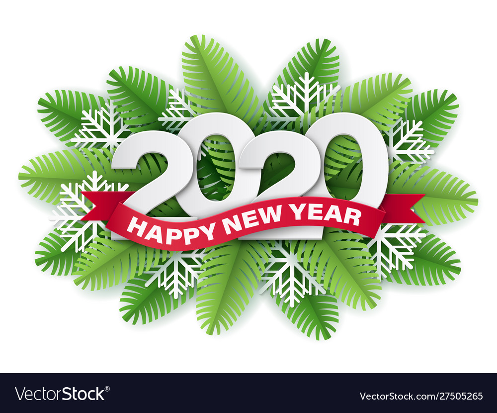 2020 paper cut christmas and tree branches