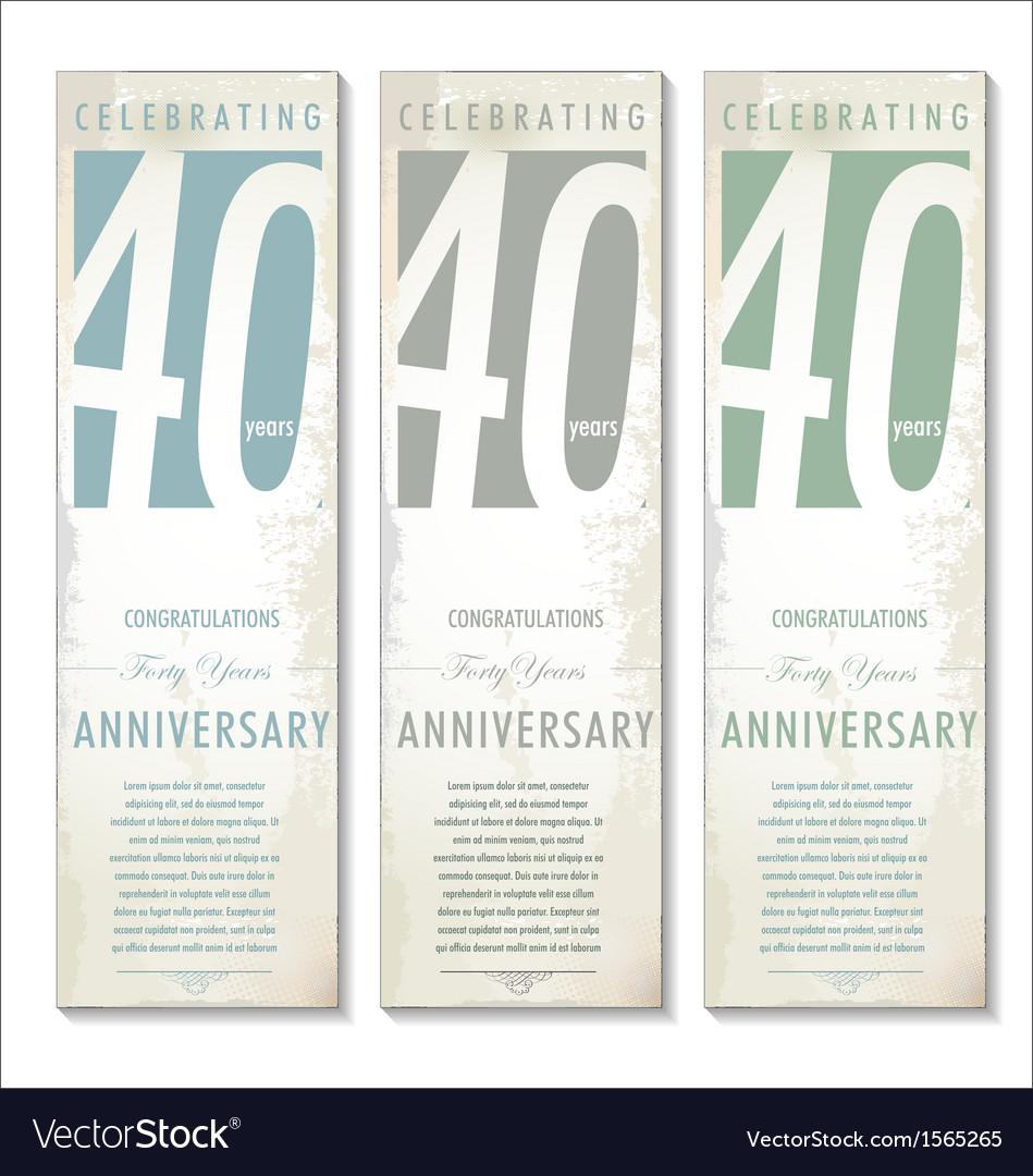 40 years Anniversary retro banner set