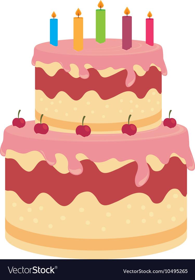 Birthday cake dessert candles cherry isolated vector image