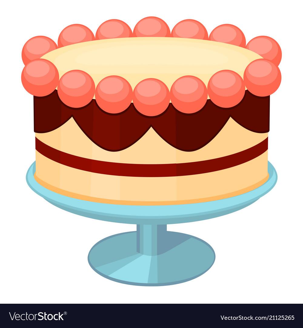 Colorful cartoon birthday cake on stand