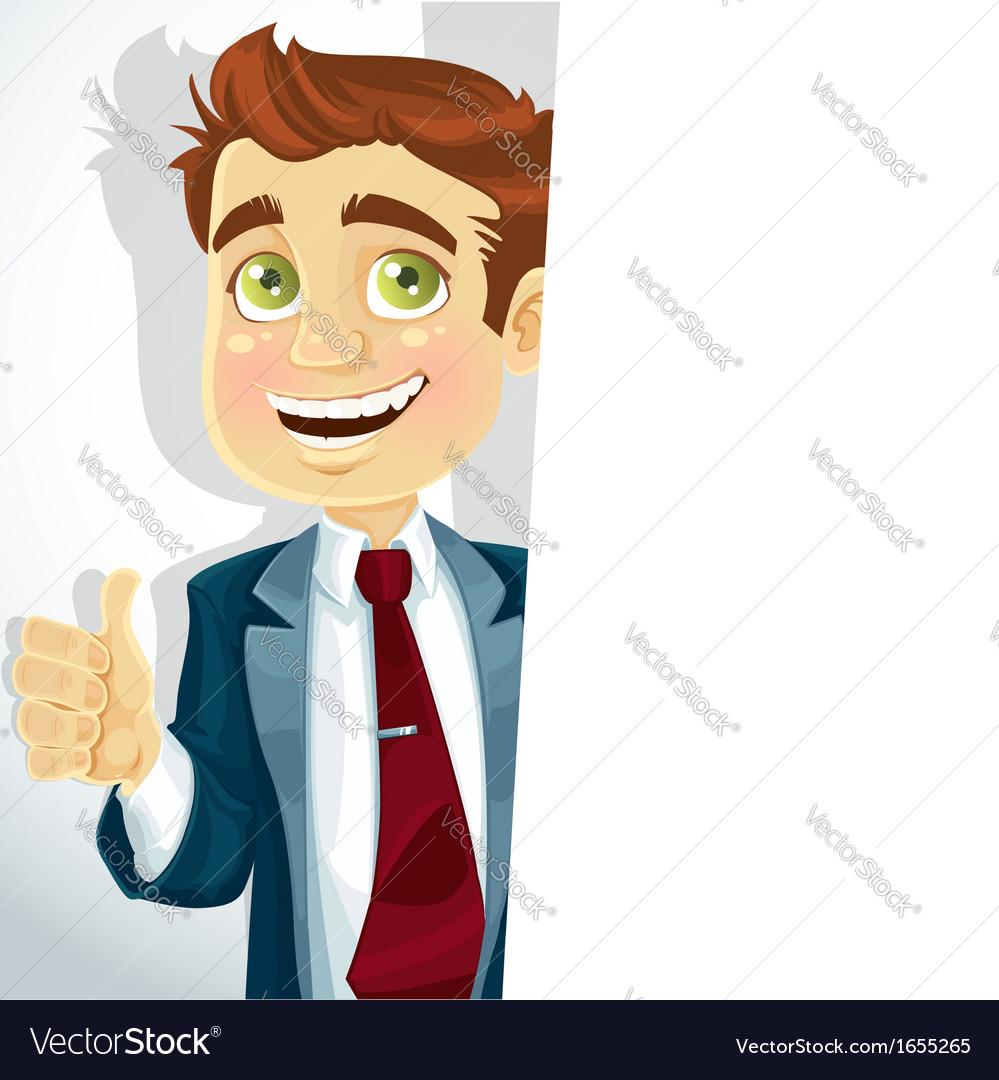 Cute businessman shows OK and hold big banner