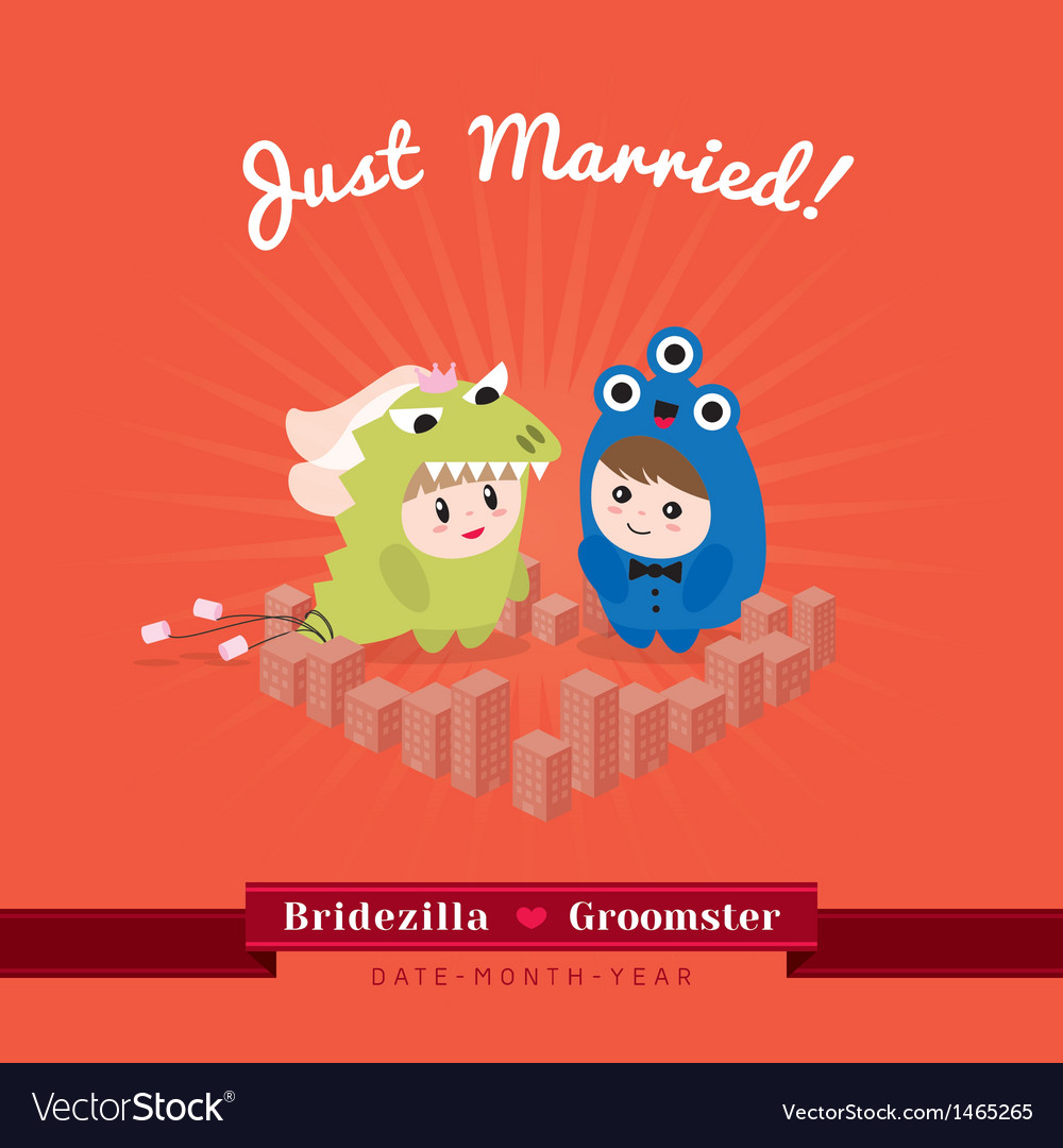 Cute kawaii groom monster and bridezilla character
