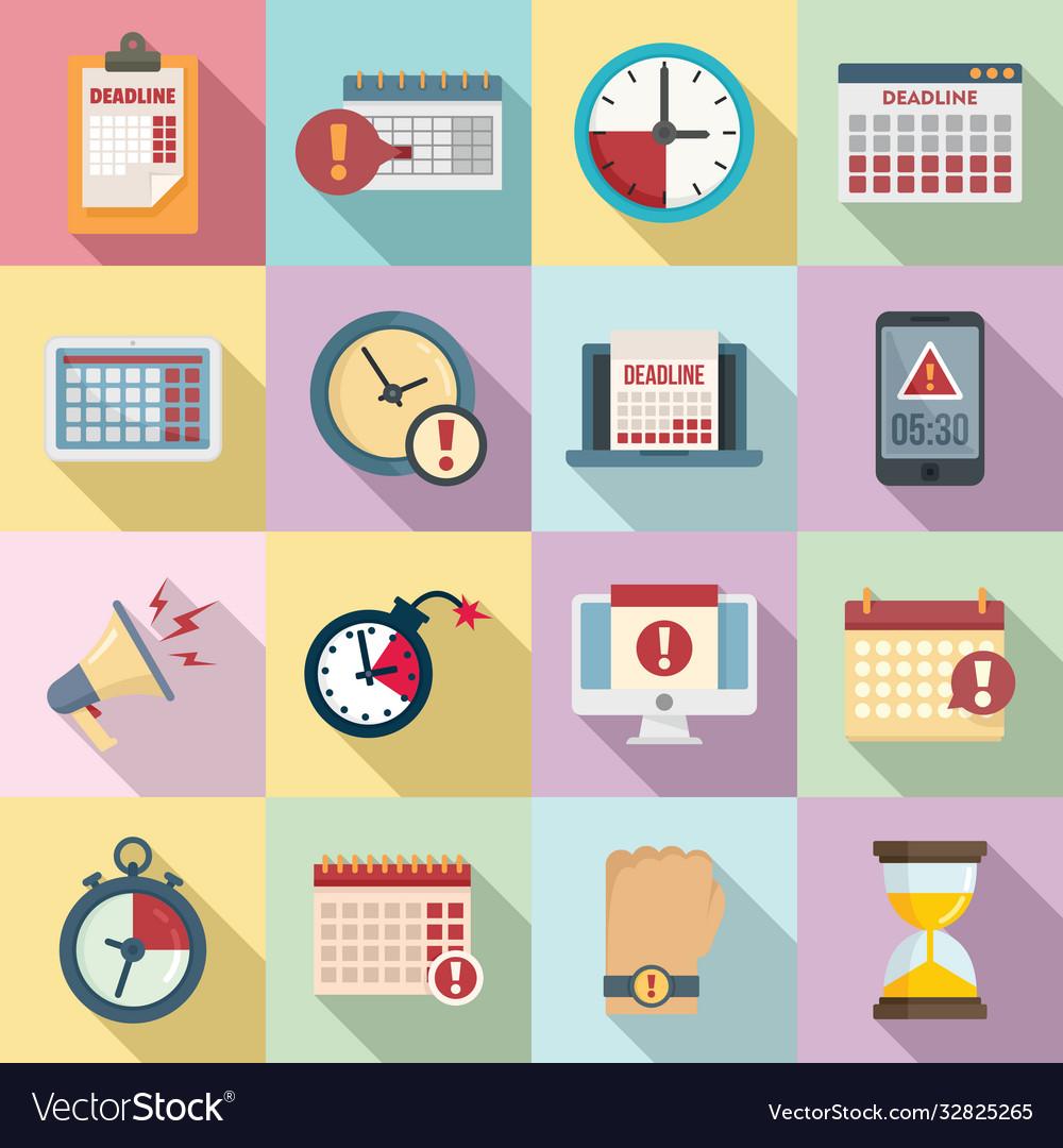 Deadline icons set flat style