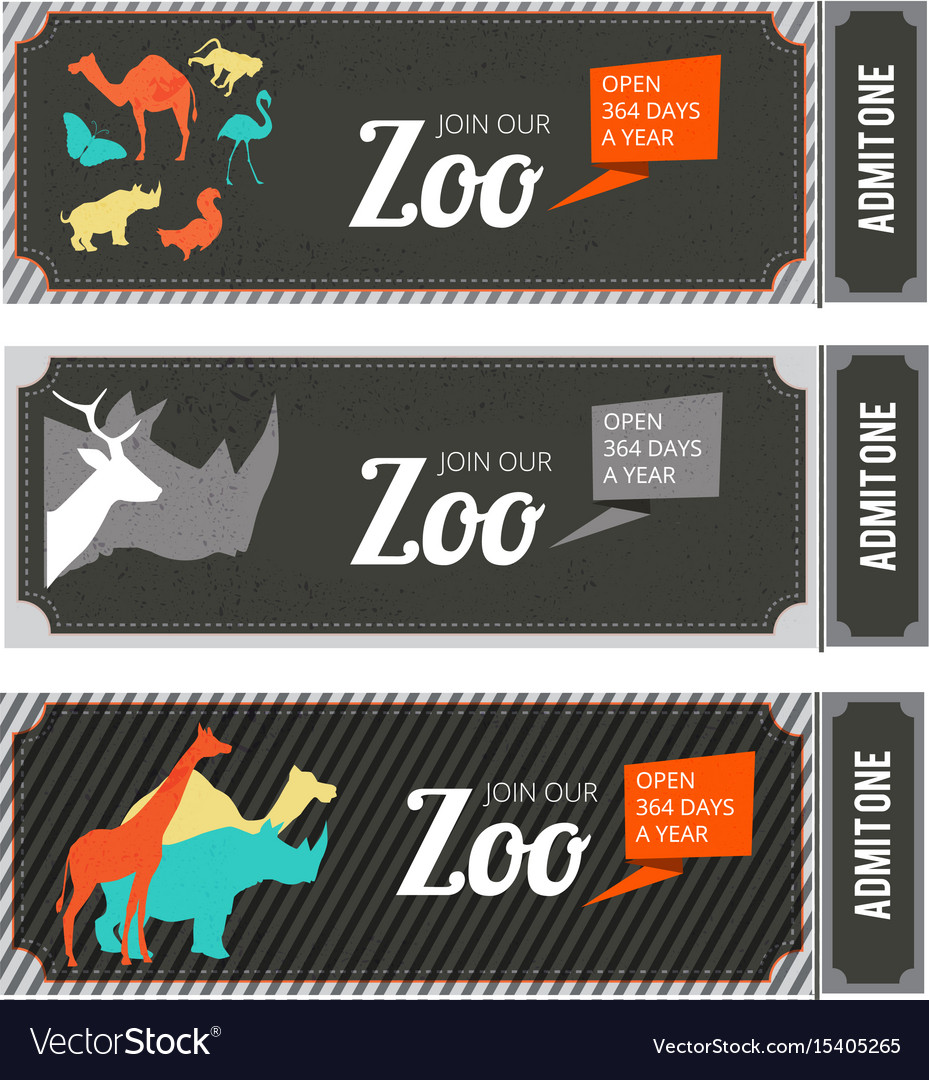 design template of zoo tickets with different wild