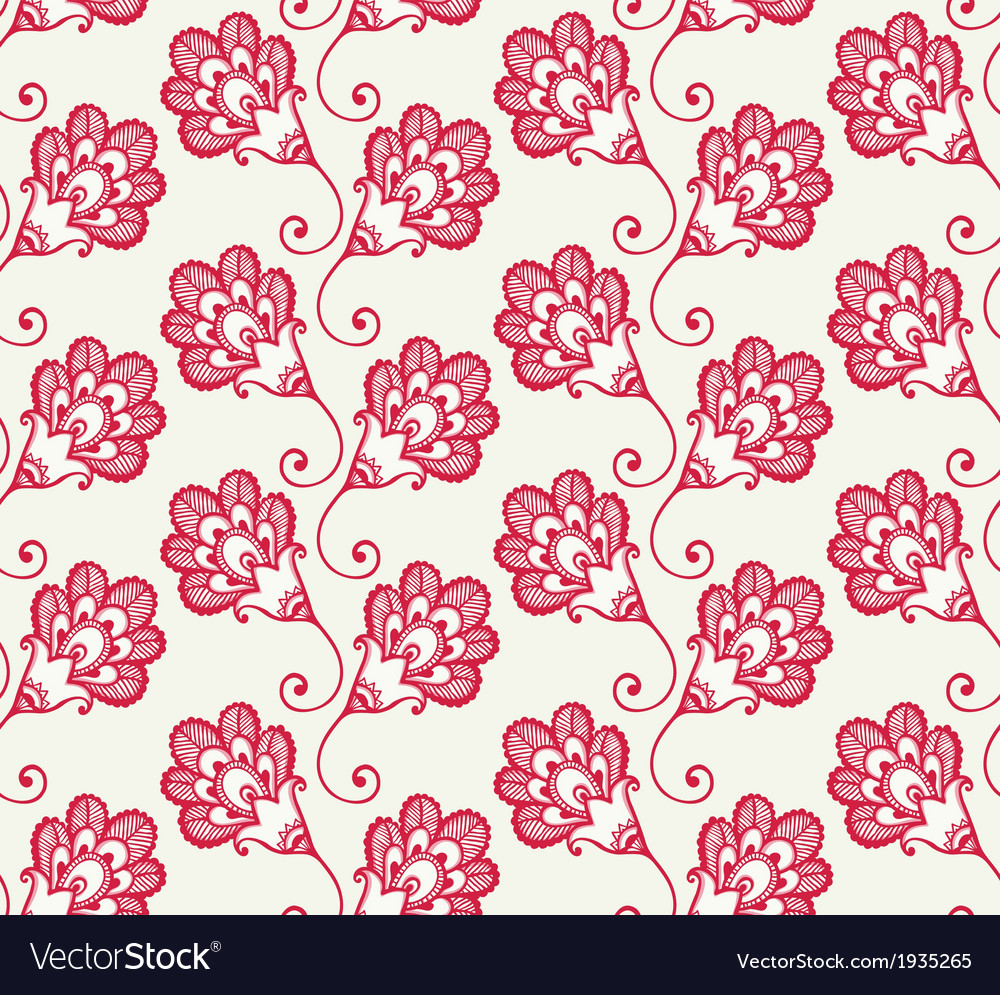 Seamless pattern with red doodle flowers