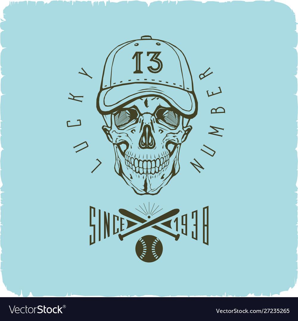Skull in baseball cap logo