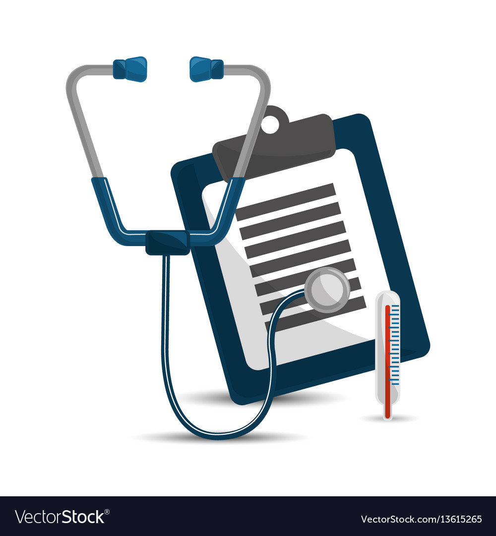 Stethoscope clipboard medicine check and