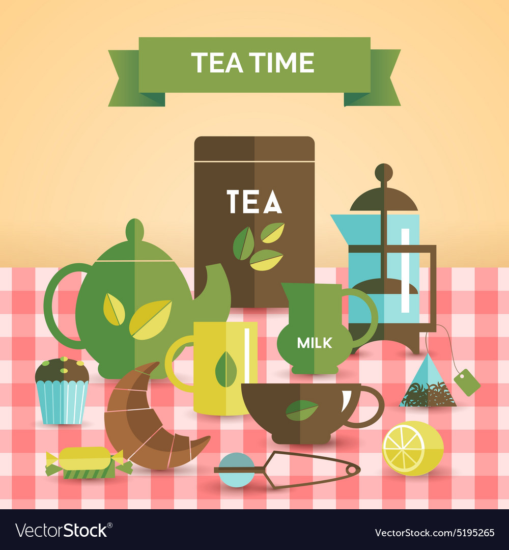 Tea time vintage decorative poster print vector image