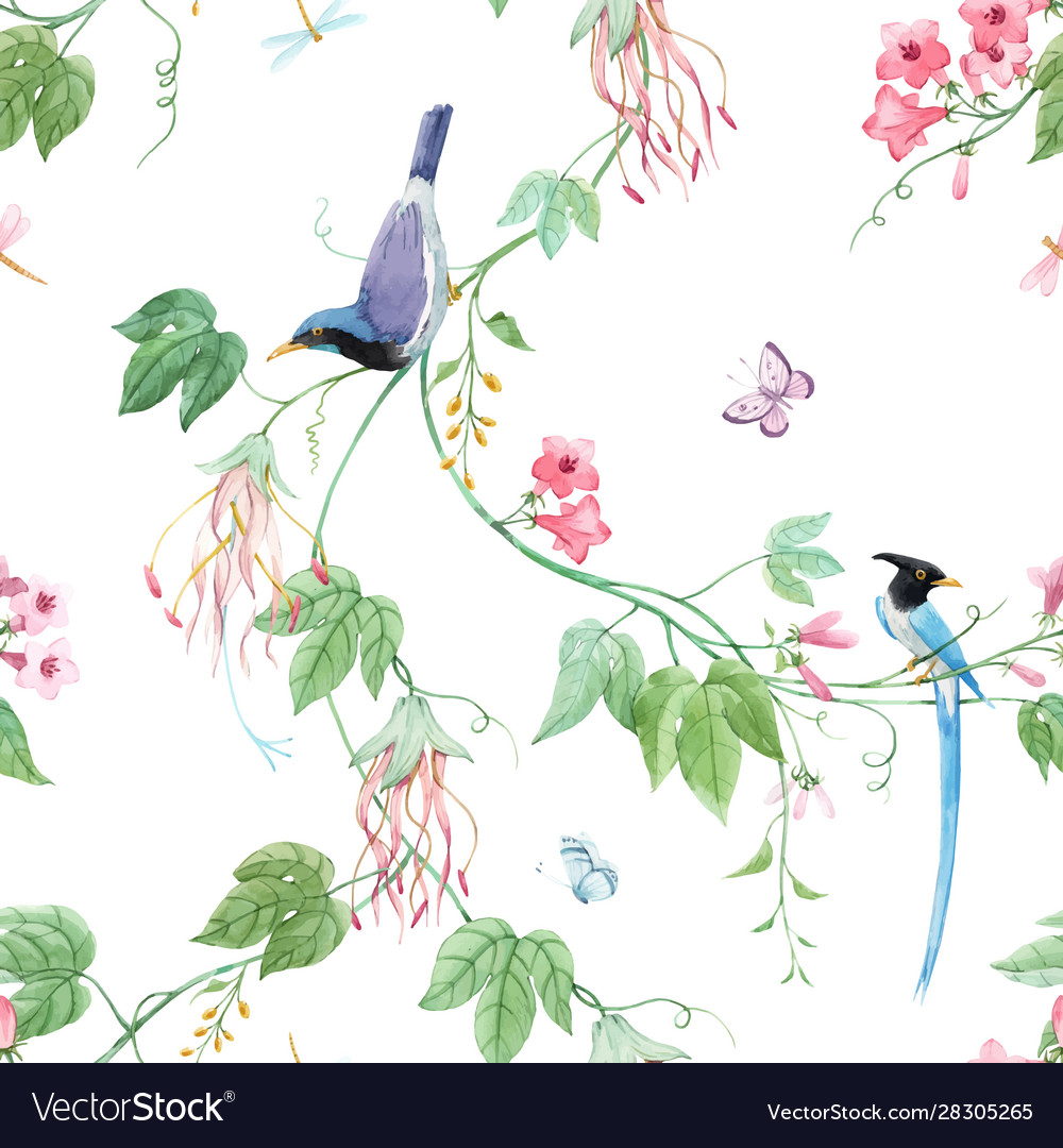 Watercolor floral pattern with blue birds