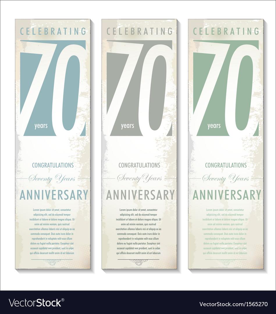 70 years Anniversary retro banner set vector image