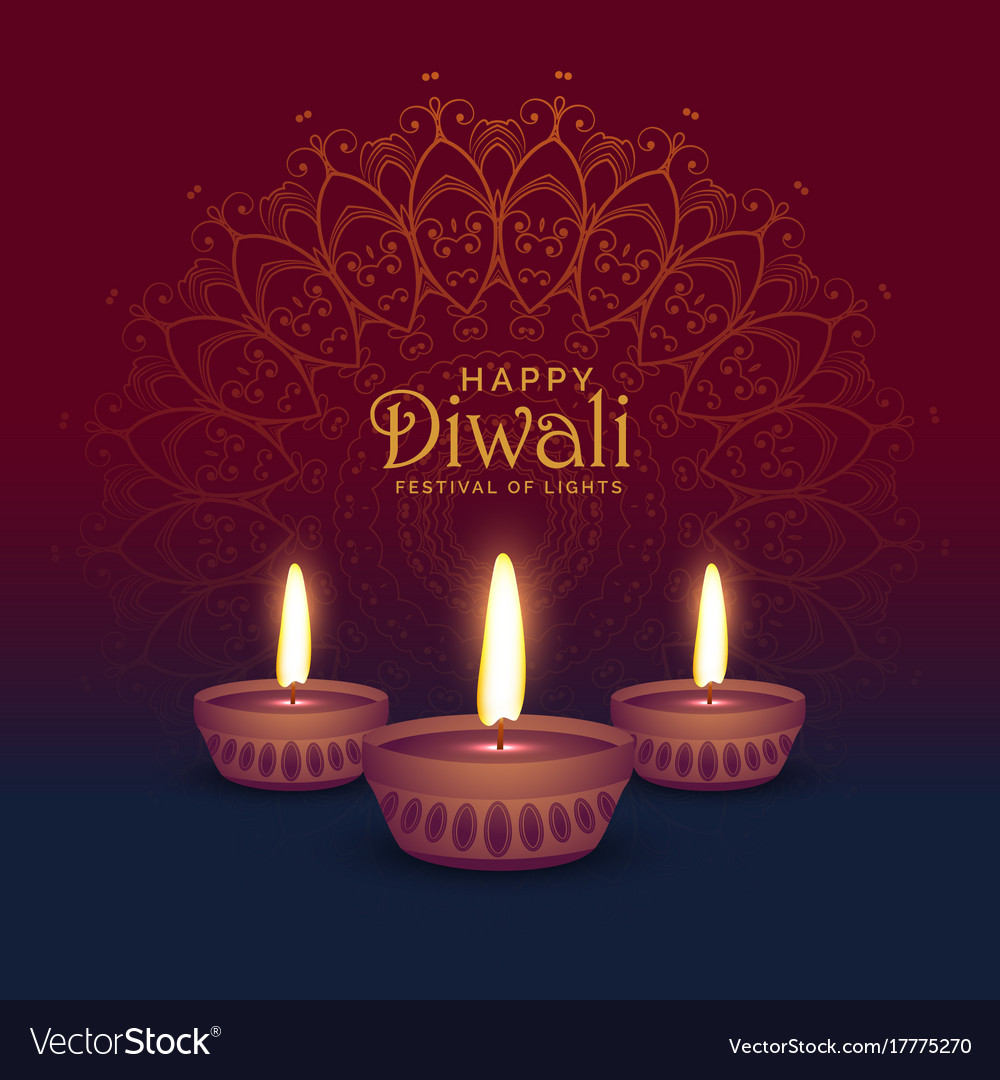 Beautiful Diwali Greeting Card Design With Three Vector Image