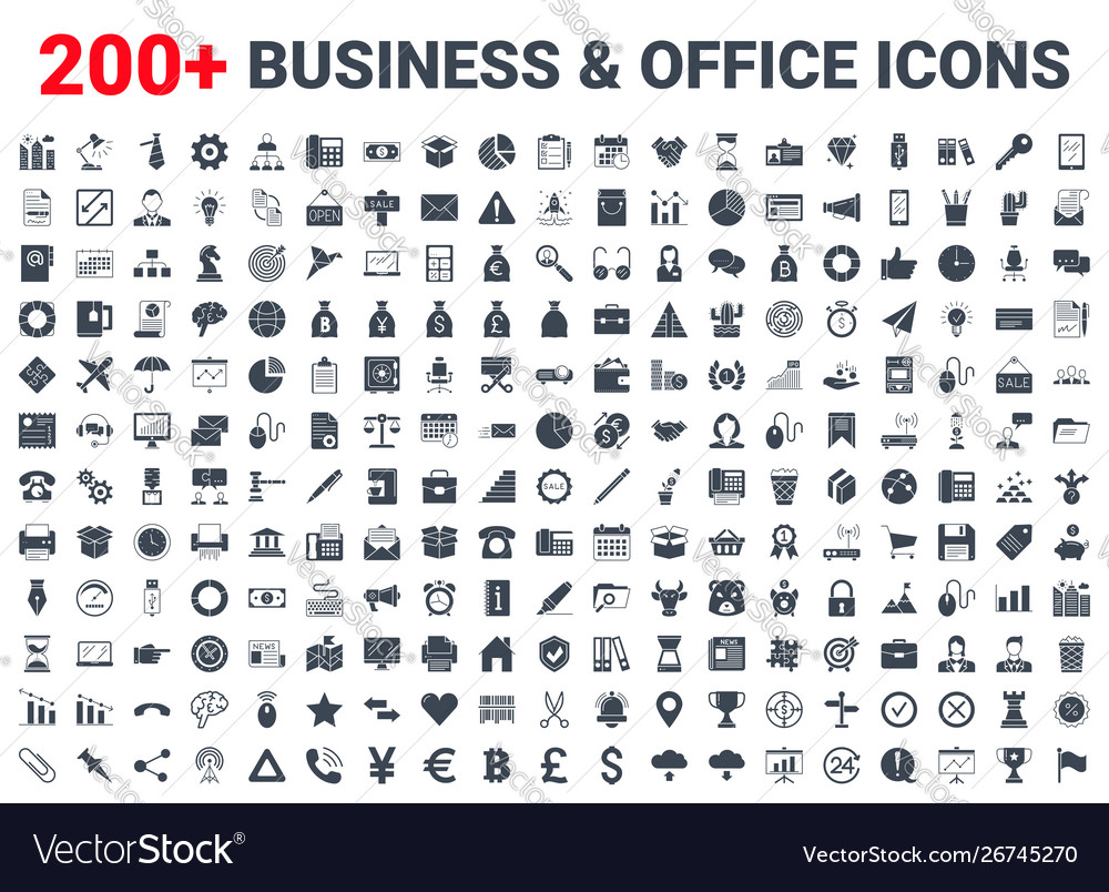 Business office finance icons set