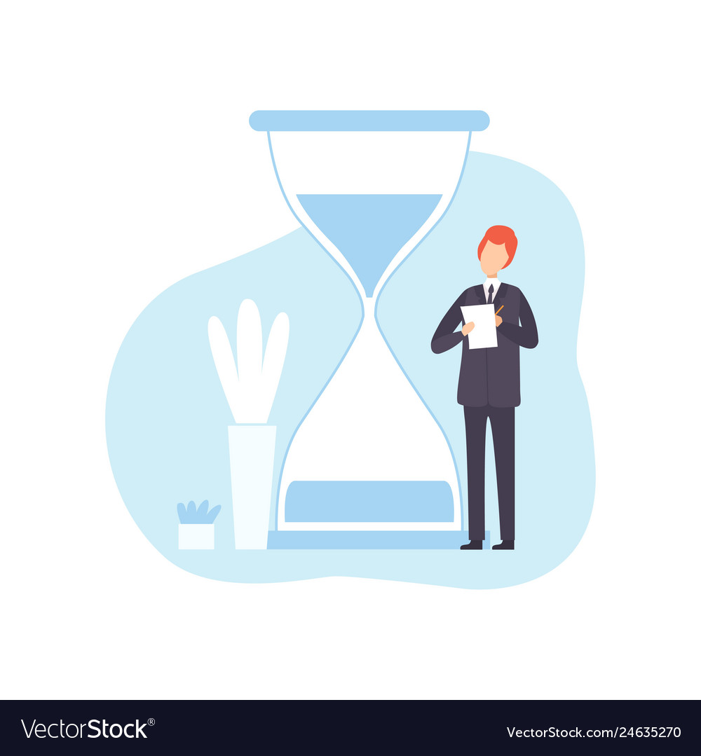 Businessman with hourglass male office worker