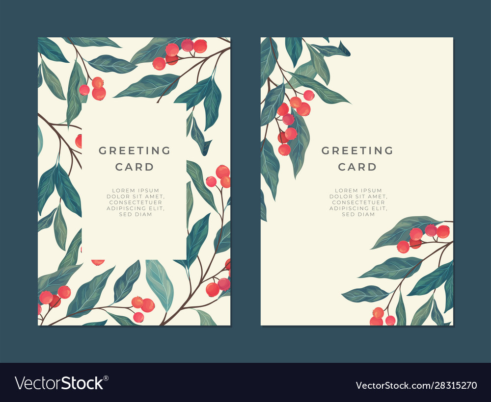 Card template with red berries