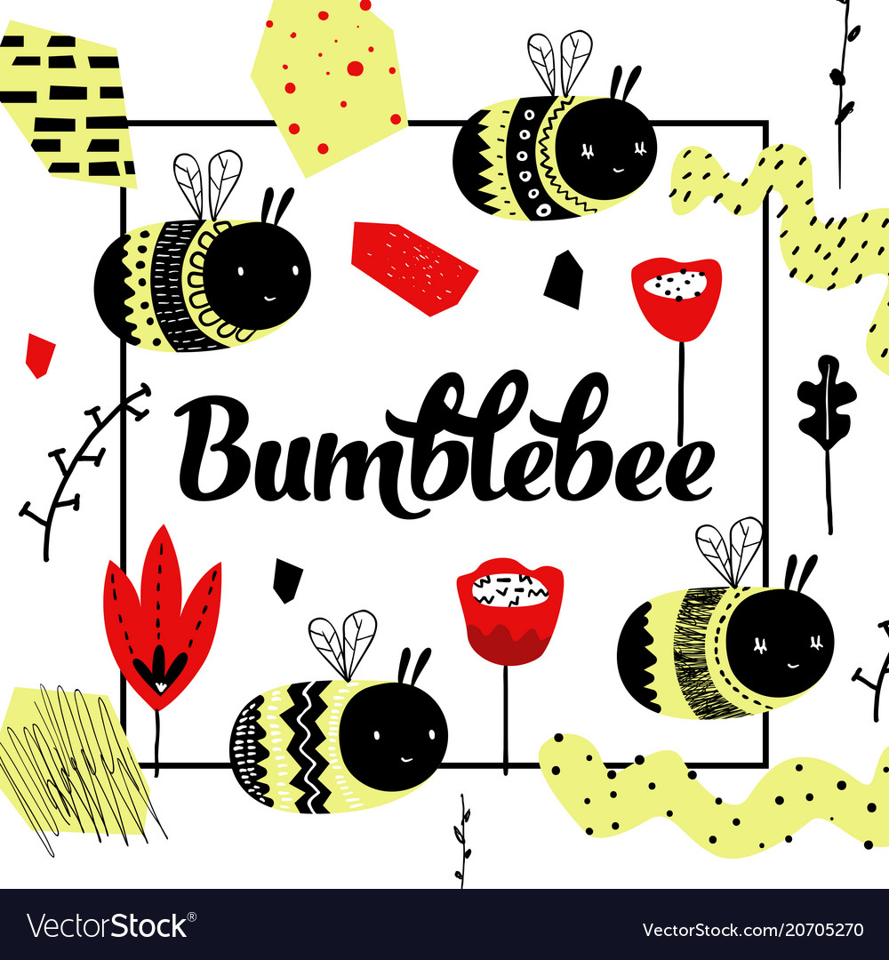 Childish design with cute bee children background
